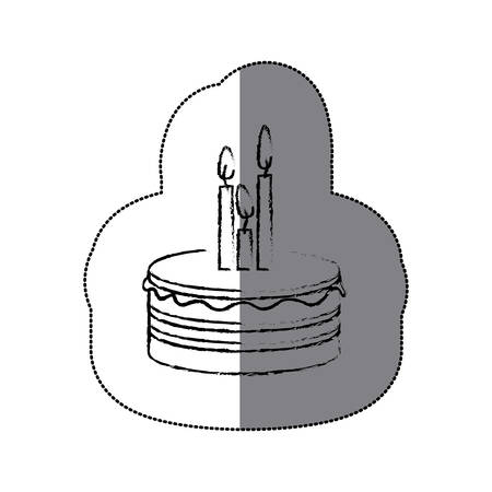 sugar veil: sticker blurred silhouette birthday cake with candles vector illustration Illustration