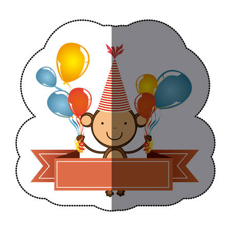 primates: sticker colorful cute monkey animal with balloons and decorative ribbon vector illustration