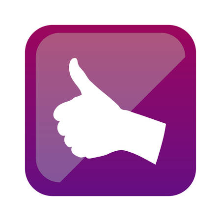 color square with hand signal ok vector illustration