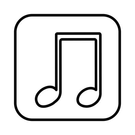 monochrome contour square musical note vector illustration Illustration