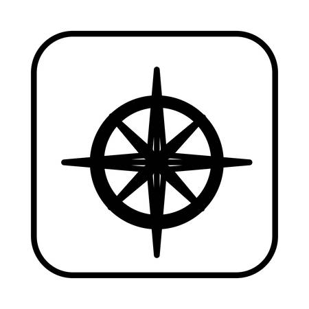 navigator: monochrome contour square with compass icon vector illustration
