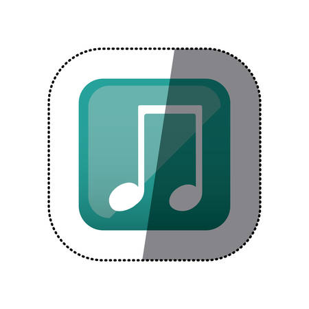 crotchet: sticker color square with musical note vector illustration