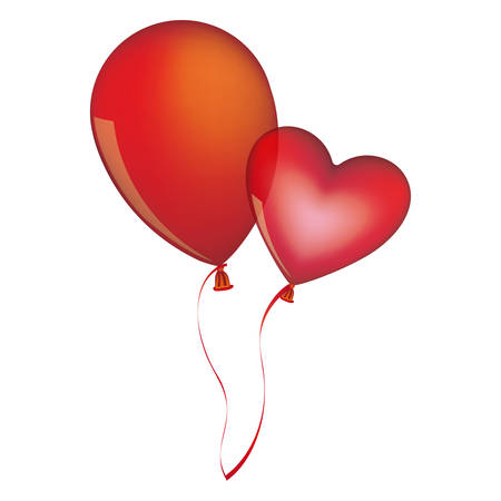 red balloons Flying romantic celebration vector illustration Illustration
