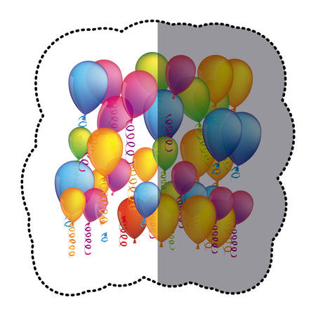 sticker colorful background with flying balloons and serpentine vector illustration