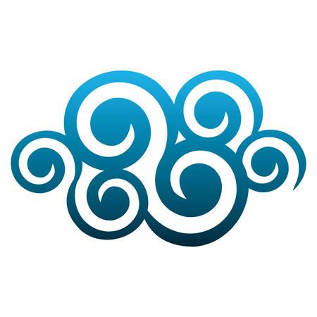 blue cloud spirals and swirls shape vector illustration