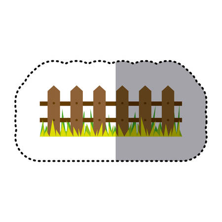 sticker colorful picture wooden fence and grass design vector illustration