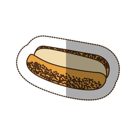 color hot dog bread icon, vector illustraction design