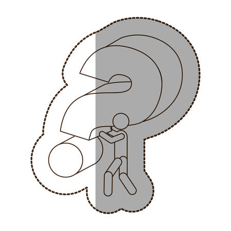 figure person carrying a red question sign icon, vector illustraction design