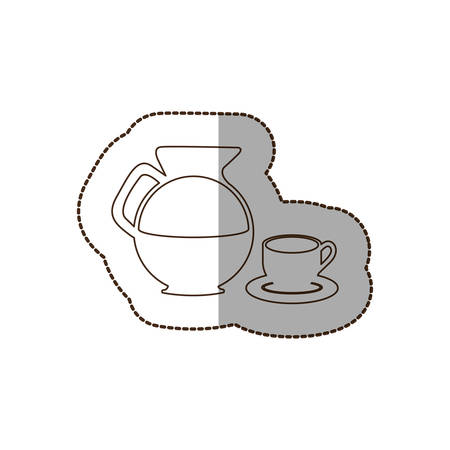 figure water pitcher with coffee cup and plate icon, vector illustraction