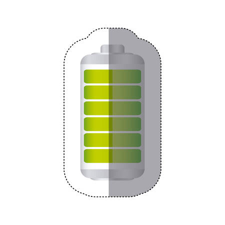 sticker battery symbol with full charge vector illustration
