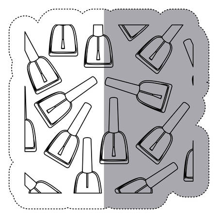 sticker monochrome silhouette with nail polish pattern vector illustration