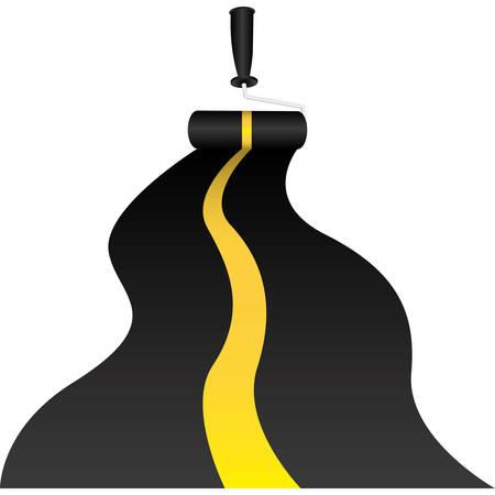 ペイント ローラーの高速道路のベクトル図を描くと背景  イラスト・ベクター素材