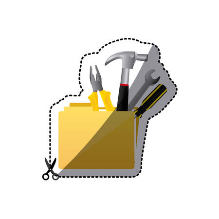 sticker color silhouette with folder and hand tools vector illustration Illustration