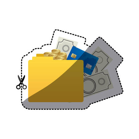 sticker color silhouette of folder with money accounts vector illustration