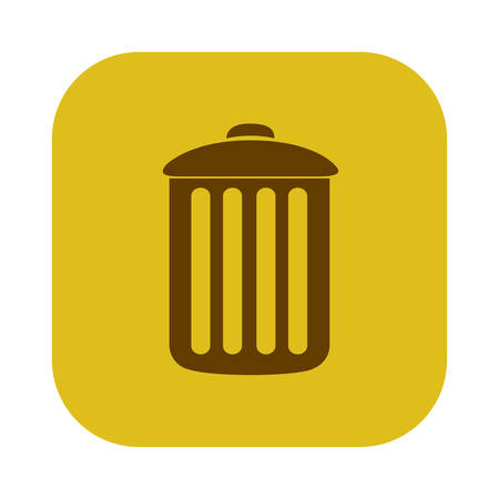 color square with trash container icon vector illustration