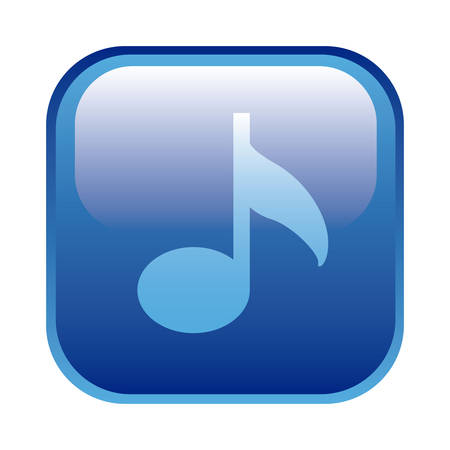 blue square frame with musical note vector illustration