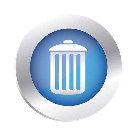 color circular emblem with trash container icon vector illustration
