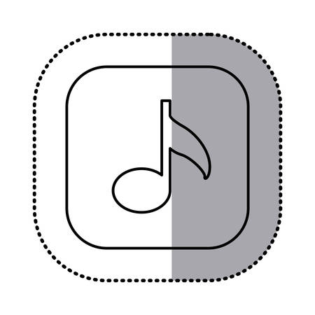 crotchet: monochrome contour with square sticker of musical note icon vector illustration Illustration