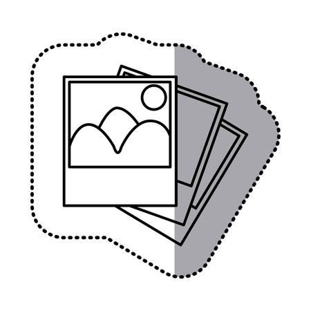 art museum: monochrome contour sticker with pictures vector illustration Illustration