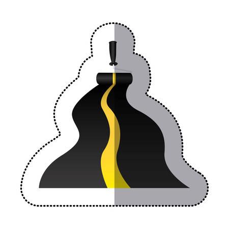 高速道路のベクトル図を描くステッカー ペイント ローラー  イラスト・ベクター素材