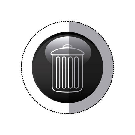 to refuse: sticker black circular frame with trash container icon vector illustration