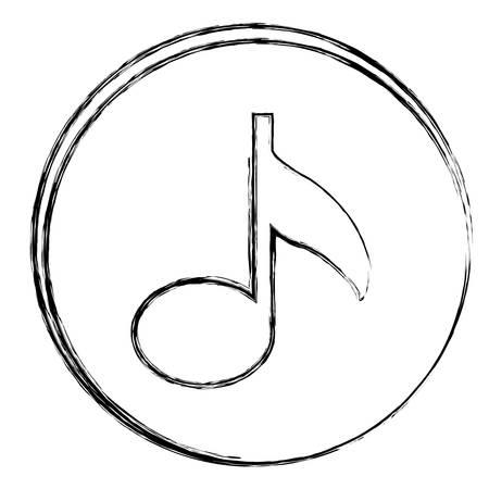 cadre circulaire silhouette floue avec signe signe note icône illustration vectorielle