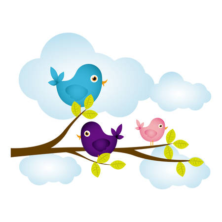 colorful cloudscape with birds on branch with leaves vector illustration 일러스트