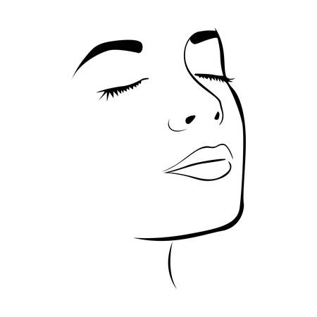 closed mouth: sketch female face silhouette with eyes closed vector illustration