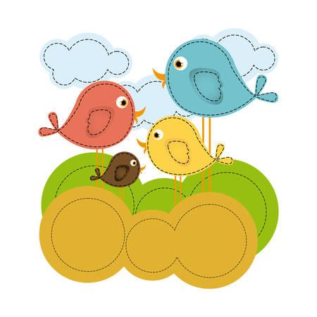 colorful landscape with cartoon birds set vector illustration 向量圖像