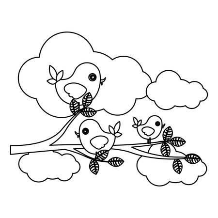silhouette cloudscape with birds on branch with leaves vector illustration