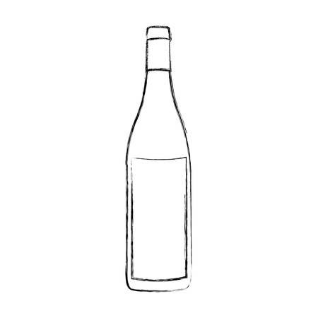 wine bottles: monochrome blurred contour of glass bottle vector illustration