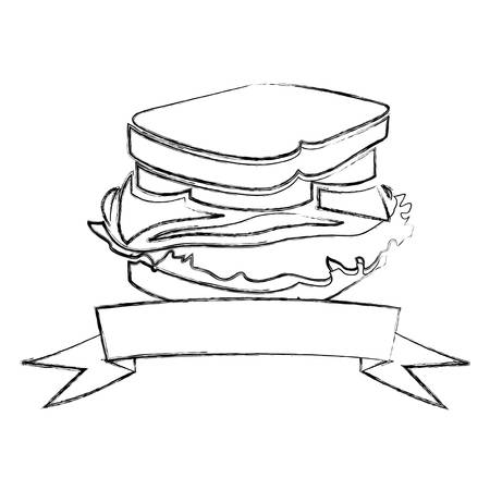 deli meat: monochrome blurred contour of sandwich with ribbon vector illustration Illustration