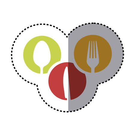 flatwares: sticker colorful circular frames with silhouettes cutlery kitchen elements vector illustration Illustration