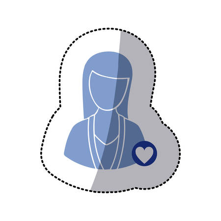 color sticker with half body silhouette woman with button heart sign vector illustration