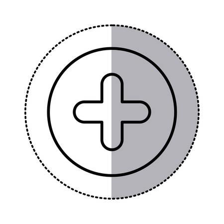 monochrome contour circular sticker with plus icon close up vector illustration