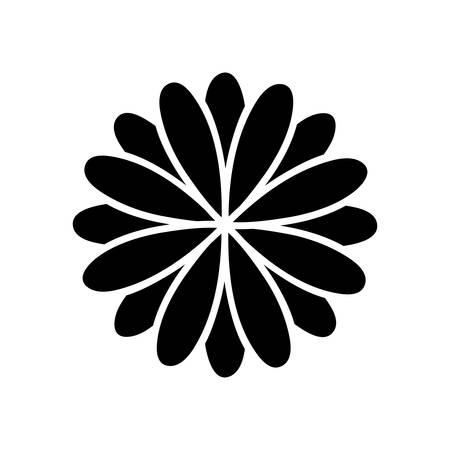black silhouette flower formed by petals set vector illustration