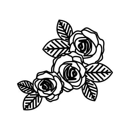 figure oval roses with leaves icon, vector illustraction design Illustration
