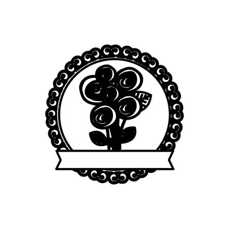 decorative emblem with rounds roses inside icon, vector illustraction Illustration