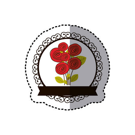 rounds: Colorful decorative emblem with rounds roses inside icon. Illustration