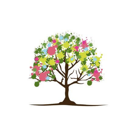 color trees with some leaves and flowers icon Illustration
