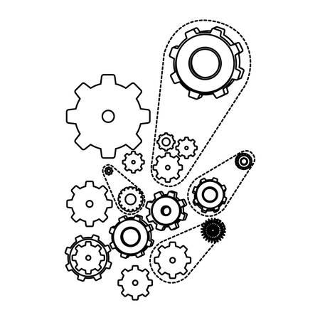 white figure giars icon, vector illustraction design image Vektorové ilustrace