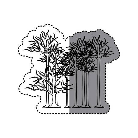 contour trees without leaves icon, vector illustraction design image Illustration