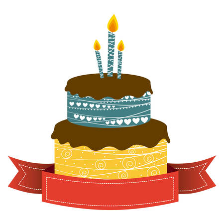 color cake party with candles and fuchsia ribbon icon, vector