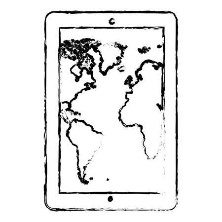 percentual: contour map in the smarphone icon, vector illustraction design
