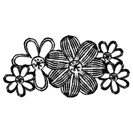 contour flowers with ovals petals icon, vector illustraction design