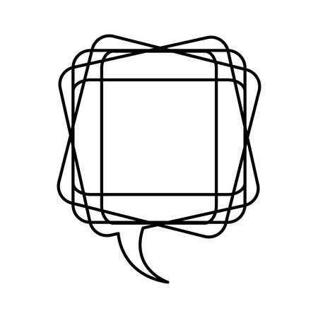 icône de bulle de chat carré blanc, conception de vecteur illustraction