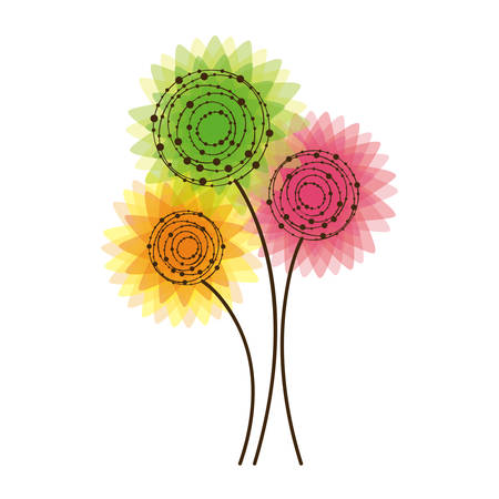 rounds: colorful rounds flowers icon Illustration