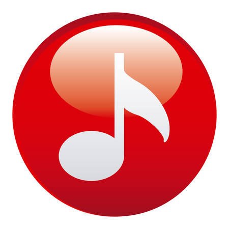 red sound: red music emblem icon, vector illustraction design