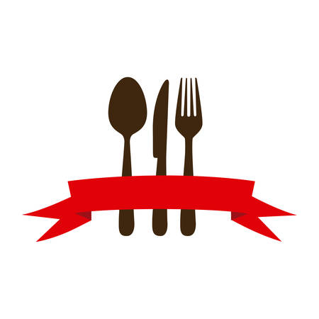 flatwares: brown cutlery with ribbon icon, vector illustraction design image Illustration