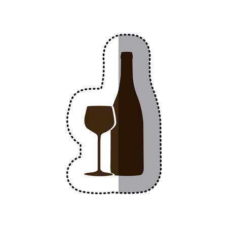 brown wine bottle with glass icon Illustration